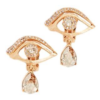 Oscar De La Renta Gold Crystal Eye Clip Earrings
