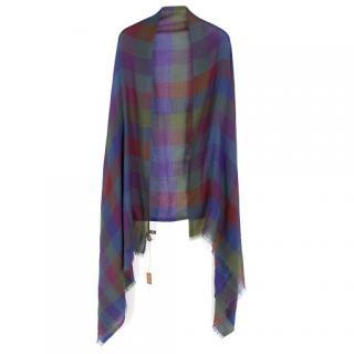 Loro Piana Cashmere & Silk-Blend Checked Shawl