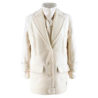 Moncler White Double Layer Down and Wool Coat