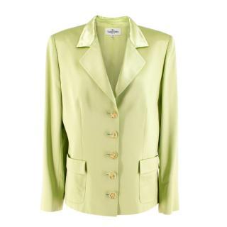 Valentino Lime Green Wool & Silk-blend Blazer