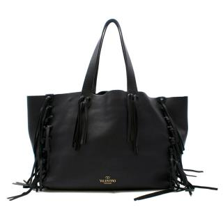 Valentino Black C-Rockee Fringe Leather Tote Bag