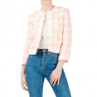 Balmain Pink and White Houndstooth Blazer