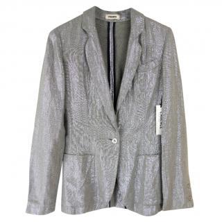 L'agency Silver Metallic Linen Blazer