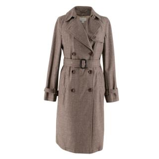 Bamford Brown Wool Trench Coat with detachable cashmere lining