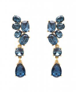 Oscar De La Renta Blue Crystal Drop Earrings