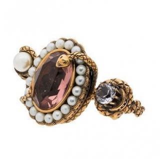 Alexander McQueen snake jewelled dual ring