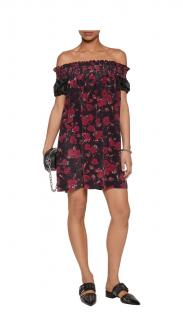 Mother of Pearl Silk-Satin Off-the-Shoulder Rose-Print Dress
