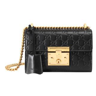 Gucci signature padlock leather shoulder bag