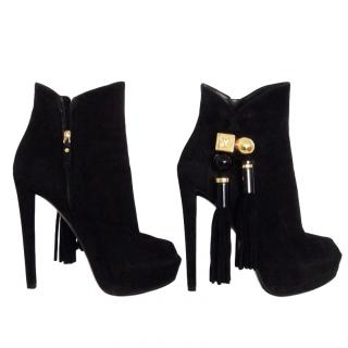 Louis Vuitton Tassle Detail black suede ankle boots