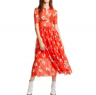 Ganni Red Button Front Tida Dress