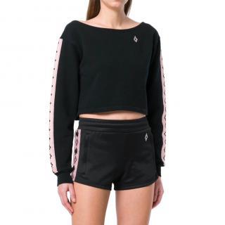 Marcelo Burlon Black Long-Sleeved Cropped Sweatshirt