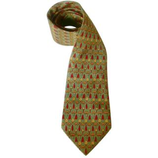Hermes Silk Tree Print Green Tie
