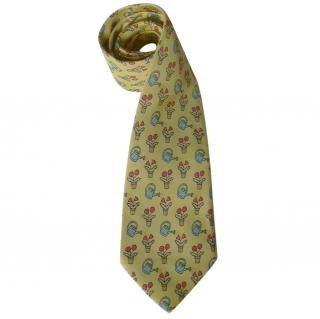 Hermes Silk Flower Pots Yellow Tie