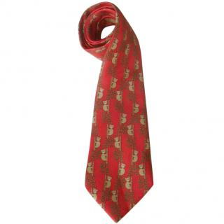 Hermes Red Silk Koala Bear Print Tie