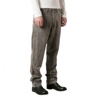 Issey Miyake Men Creased Straight Leg Jeans