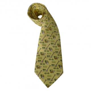 Hermes Silk Carrot & Cabbage Bunnies Print Yellow Tie
