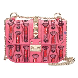 Valentino X Zandra Rhodes Lock leather shoulder bag