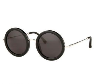 Linda Farrow x The Row Round Black Sunglasses
