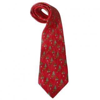 Hermes Silk Beaver & Tree Print Red Tie