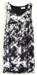 Saint Laurent Palm Tree Print Black & White Mini Dress