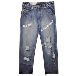 Armani Jeans Foglia D'oro Blue Denim Warn Out Effect Jeans