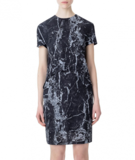 Balenciaga Marble Print Trompe L'oeil Short Sleeve Dress