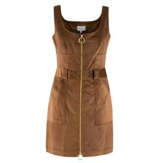 Milly Brown Corduroy Zip Up Dress