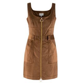 Milly Brown Corduroy Zip Up Dress