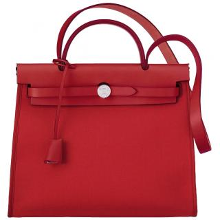 Hermes Toile Militaire Vache Hunter Rouge Piment Herbag 39 - SS19