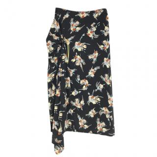 MARNI Black Floral Print Side Ruched Midi Skirt