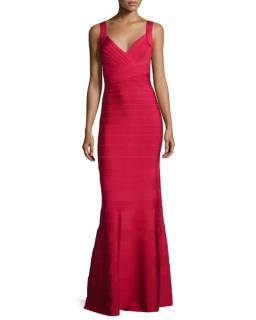 Herve Leger Red Deep V-Neck Bandage Gown