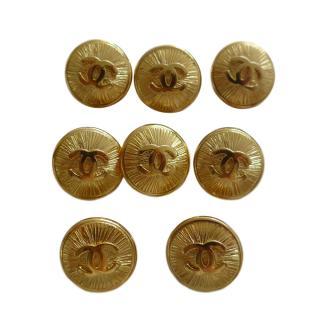 Chanel Gold Tone Button Set - 8