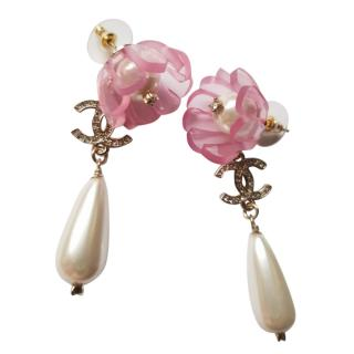 Chanel Pink Pearl Flower Drop Earrings
