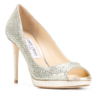 Jimmy Choo Luna Champagne Peep-Toe Pumps