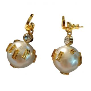 Dior Gold Crystal & Pearl Drop Earrings