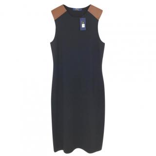 Polo Ralph Lauren Black Shift Dress W/ Tan Cap Sleeves