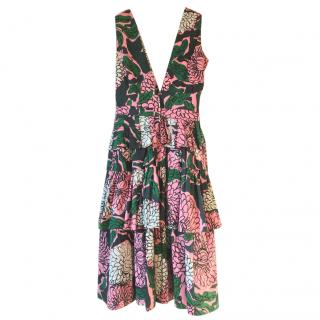 MARNI pink, green, black & white cotton floral v neck tiered dress