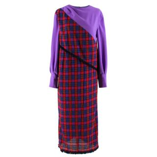 Bogdar Chiffon Purple & Tartan Nadine Dress