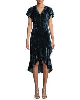 Shoshanna Barnet V-Neck Crushed Velvet Dress