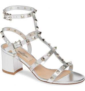 Valentino Garavani Metallic Block-Heeled Rockstud Sandals
