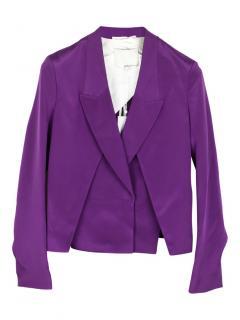 Phillip Lim Purple Cropped Silk Single Breasted Jacket