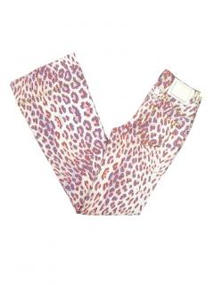 Just Cavalli Leopard Print Lace-Up Flared Jeans