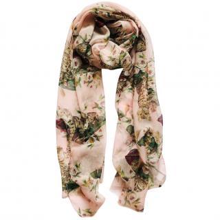 Dolce & Gabbana Floral Cat Print Silk Scarf