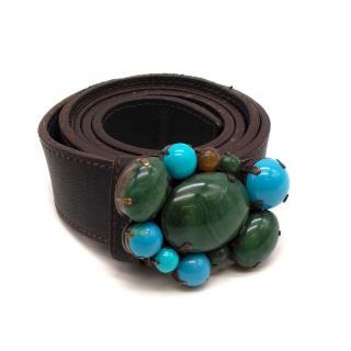 Miu Miu Brown Stone Embellished Leather Belt