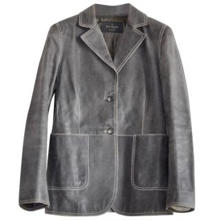 Trussardi vintage grey leather jacket