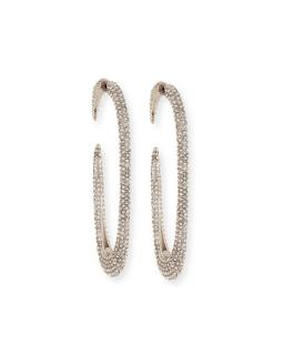 YSL Silver Tone Large Crystal Encrusted Hoop Earrings