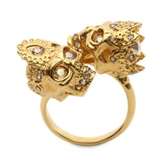 Alexander McQueen Gold Tone Crystal Skull Ring Size N