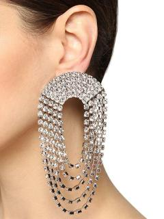 Alessandra Rich Large Crystal Chandalier Clip Earrings