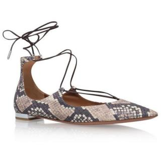 Aquazurra Christy Snake Print Lace-Up Flat
