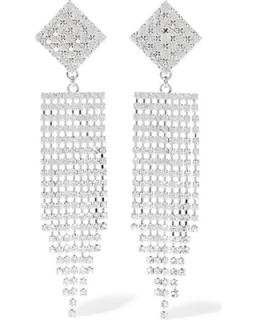 Alessandra Rich Large Crystal Chandalier Clip Earrings